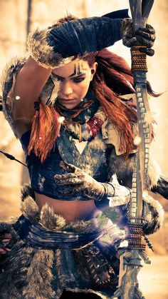 Aloy from horizon zero dawn Horizon Zero Dawn Aloy, Warrior Girl, Fantasy Warrior, Fantasy Adventurer, Warrior Women, God Of War, Video Game Characters, Female Characters, Video Game Art