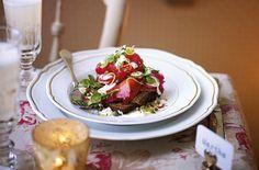 Beetroot Cured Smoked Salmon With Pea Shoots Radish And Mustard Cream - Tesco Real Food - Tesco Real Food