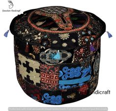 Indian Embroiderd Seating Pouffe Cover Footstool & Chair Cover Bohemian Ottoman