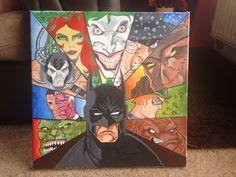 Batman and 9 villains painted canvas
