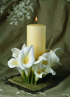 Calla Lily Pillar Candle Holder for our Unity Candle