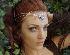 Medieval Renaissance wedding circlet tiara by ElvenstarDesign