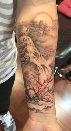 Landscape Tattoo by Gloria Zhang from Hailin Tattoo in West Hollywood