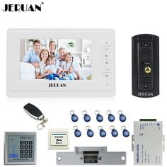 JERUAN 7`` Video Door phone Intercom System kit 1 White Monitor Full Metal IR Night Vision Pinhole Camera RFID Access Control   #Affiliate