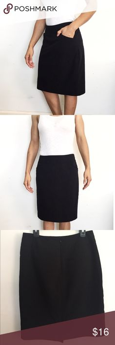 "Worthington Petite Black Pencil Skirt A classic staple for every wardrobe! This skirt has two functional front pockets, two decorative back pockets with middle zip up closure in the back. 100% polyester lining. Back slit. 21"" long. I'm 5'2 for reference. Worthington Skirts Pencil"