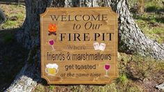 Campfire Bon Fire Fire Pit Welcome Friends Wood Personalized Sign Camper Decor Camper Sign