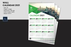 Wall Calendar Template 2021 | Corporate Wall Calendar | Photoshop Template | Instant Download Indesign Templates, Brochure Template, Program Template, Flyer Template, Photography Marketing, Party Flyer, The Help, Calendar