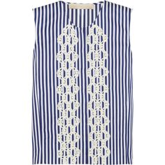 Vanessa Bruno Anina embroidered striped cotton-poplin top ($259) ❤ liked on Polyvore featuring tops, blouses, shirts, blue, blue striped shirt, embroidery blouses, embroidered top, stripe shirt and blue striped blouse
