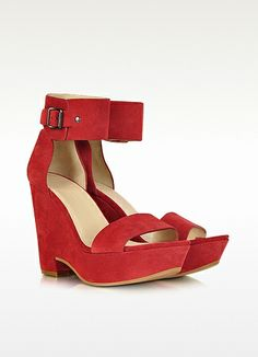 Red Suede Wedge Sandal - See by Chloé