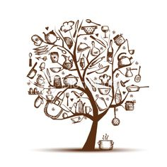 Art tree with kitchen utensils, sketch drawing for your design Royalty Free Stock Vector Art Illustration