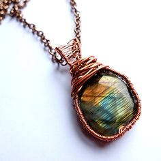 labradorite pendant, wire wrapped labradorite, rustic, bohemian necklace, unique, ooak, rainbow labradorite by MissLadysmith on Etsy