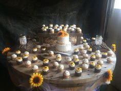 Sunflower wedding cake and cupcakes..turned out awesome
