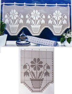 filet curtain by celeste Filet Crochet Charts, Crochet Borders, Crochet Cross, Thread Crochet, Crochet Patterns, Crochet Curtain Pattern, Crochet Curtains, Tapestry Crochet, Crochet Doilies