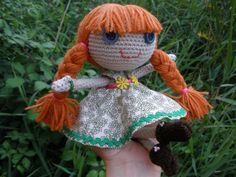 "Handmade Doll ""Henrietta"" / Redhead Doll / Amigurumi Doll / Doll with Pigtails / Handmade Toys / Gifts for Girls / Crochet Doll"