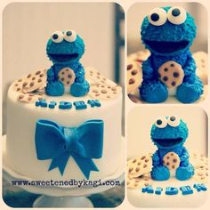Cookie Monster baby shower cake