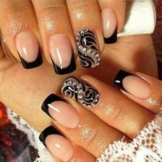 Black french manicure with pattern