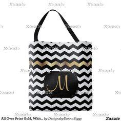 #Sold.  All Over Print Gold, White & Black Chevron Design #Totebag