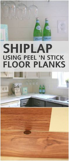 Shiplap Backsplash with Peel 'n Stick Flooring create the look of shiplap on your backsplash with peel and stick vinyl flooring!create the look of shiplap on your backsplash with peel and stick vinyl flooring! Peel And Stick Floor, Peel And Stick Vinyl, Peel And Stick Shiplap, Peel And Stick Countertop, Kitchen Backsplash Peel And Stick, Plank Flooring, Vinyl Flooring, Plank Walls, Flooring Ideas