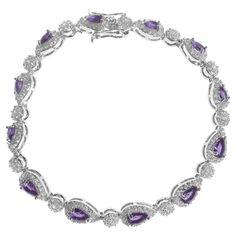15 1/4 CT. T.W. Pear-cut CZ Tennis Basket Set Bracelet in Sterling Silver - Purple, Women's