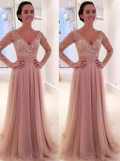 Short: Buy Princess Long Sleeves V-neck Tulle Prom Dress with Detachable Train…