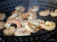 Summer Grill Recipe - Easy Marinated Shrimp: 6 lbs raw shrimp (1 lb/person), 1/2 cup butter, 1/4 cup olive oil, 1 cup orange juice, 6 garlic cloves, 1 t lemon pepper. Whisk together the marinade and add shimp - leave in refrigerator for 30 mins. Place marinated shrimp in grill skillet and toss constantly for 5 mins until done. Season with Old Bay seasoning. Serve hot off the grill!