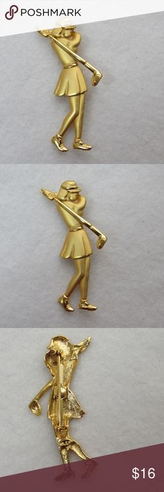"""Vintage JJ/Jonette Jewelry Golfer Brooch/Pin Another great brooch/pin from Jonette Jewelry.  This one is a gold tone woman golfer with both matte and polished gold colored metal.  This brooch measures approximately 2.25 x 1"""".  The pin stem runs vertically on the back.  Both the stem and catch are in very good working condition.  The pin stem measures a little over 1.25 inches.  It is stamped with the JJ hallmark just under the catch and on the golfer's legs. Jonette Jewelry/JJ Jewelry…"""