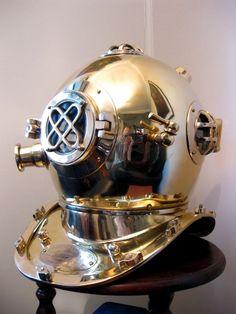 Vintage brass deep sea diving helmet