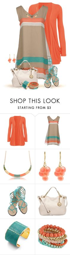 """Coral & Aqua & Beige"" by tufootballmom ❤ liked on Polyvore featuring Alberta Ferretti, David Aubrey, Joe's Jeans, MICHAEL Michael Kors and Aspinal of London"