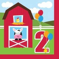 Farmhouse Fun Luncheon Napkin 2nd Bday (18) Farm Animal Barnyard Party * For more information, visit image link.