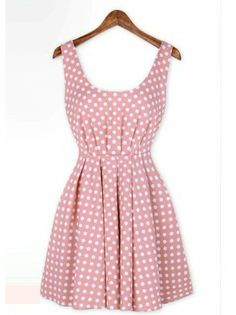 Open Back Polka Dot Pleated A Line Dress