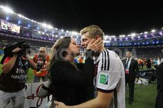 Celebrating with his partner  Jessica Farber, midfielder Tono Kroos Germany v Argentina: 2014 FIFA World Cup Brazil Final 13.7.14