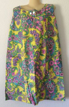 Vintage Cotton House Dress Mod Era Medium Union Label Floral New w/ Tag 60s/70s…