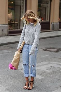 One of the cutest basic looks I've seen in ages. The heels break it all up. Find similar jeans here: http://asos.do/OVcKny http://asos.do/gQRYLJ Jumper: http://asos.do/dTjXxI