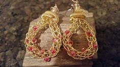 Gold viking knit pink beaded earrings