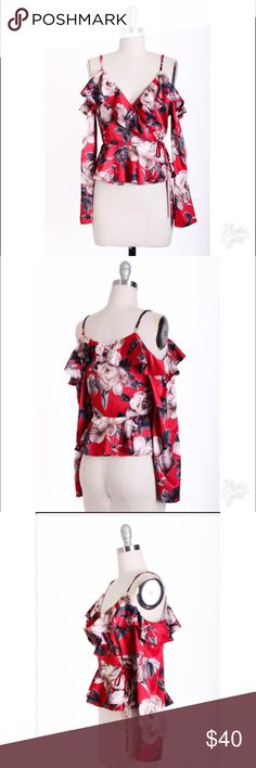 Lulumari Red floral blouse Check my boutique for more fashion cloths with good quality and price Tops Blouses
