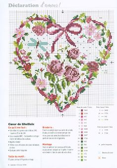"Photo from album ""Creation Point de Croix 2016 on Yandex. Cross Stitch Quotes, Cross Stitch Heart, Cross Stitch Flowers, Cross Stitching, Cross Stitch Embroidery, Embroidery Patterns, Owl Quilt Pattern, Wedding Cross Stitch Patterns, Cross Stitch Kitchen"