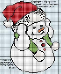 Grille gratuite point de croix : Bonhomme de neige et son bonnet de Noel