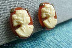 Vintage Cameo Earrings 1950s Cameo Jewelry via Etsy