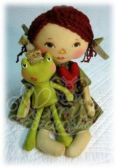 Mimi Haraposita, cloth dolls handmade. Annita and Her Prince celebrate Valentine Infant