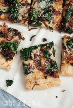 Caramelized Onion, Spinach and Bacon Pizza from www.carlasconfections.com
