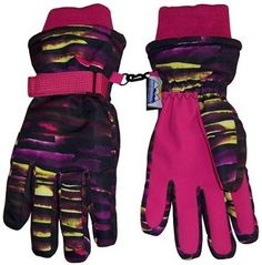 N'Ice Caps Kids Neon Laser Striped Waterproof Thinsulate Ski Gloves Full PVC sure gripper on palms, fingers and thumbs Adjustable velcro wrist straps and elastic under wrists Knit cuffs N'Ice Caps TM original neon striped design Black Neon, Purple And Black, Black And Brown, Neon Yellow, Best Winter Gloves, Waterproof Gloves, Teen Girl Fashion, Fashion Teens, Best Caps