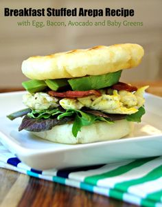Breakfast Stuffed Arepa Recipe with Egg, Bacon, Avocado and Baby Greens #PANFan #IC #AD