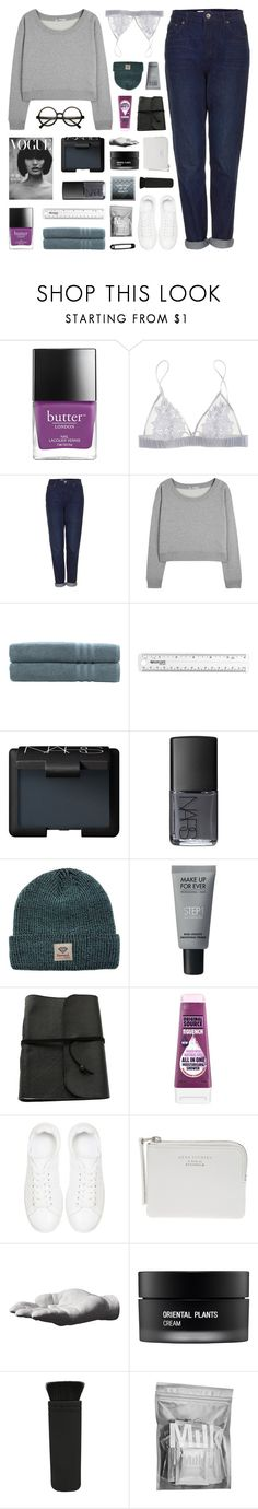 """collab with nads! // back to work or the coffee shop"" by kristen-gregory-sexy-sports-babe ❤ liked on Polyvore featuring Butter London, Fleur of England, Topshop, T By Alexander Wang, Linum Home Textiles, NARS Cosmetics, Diamond Supply Co., MAKE UP FOR EVER, Anine Bing and Acne Studios"