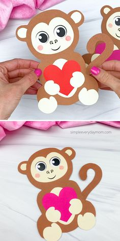 This monkey Valentine craft is a fun and easy activity for kids to do. Download the free printable template and make it with preschool, kindergarten, and elementary children. Valentine Crafts For Kids, Christmas Paper Crafts, Diy Crafts For Kids, Craft Ideas, Valentine Template, Monkey Crafts, Valentine's Cards For Kids, Craft Free, Winter Art