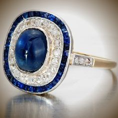 #antiquejewelry Art Deco sapphire and diamond engagement ring, 18K and platinum. #artdeco