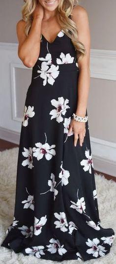 #summer #outfits / black floral print maxi dress