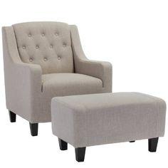 Allen Beige Fabric Club Chair and Ottoman:Amazon:Home & Kitchen