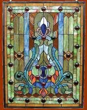 Matching PAIR of Handcrafted Tiffany Style Victorian Design Stained Cut Glass Window Panels. Each window panel is handmade with 280 pieces of cut stained glass and jewels. You will love this window! Antique Stained Glass Windows, Stained Glass Panels, Leaded Glass, Stained Glass Art, Window Glass, Beveled Glass, Fused Glass, Victorian Windows, Victorian Design