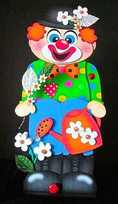 3D On the Shelf Card Kit JoJo the Clown on Craftsuprint designed by Carol Clarke - made by Cynthia Massey - Printed onto 250gm and 200gm card and followed the easy instructions, decoupaged with foam pads, added flowers, leaves, ladybird, raindrop and sparkling gems to the flowers. very bright and colourful, any little girl or boy would love this. - Now available for download!