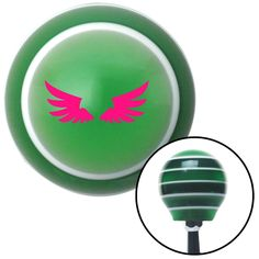 Pink Wing of Royalty Green Stripe Shift Knob with M16 x 15 Insert